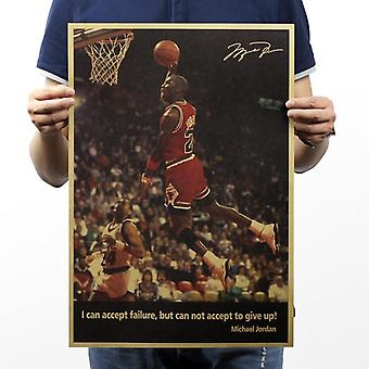 Michael Jordan Not Give Up Vintage Kraft Paper Poster Home Wall Decoration