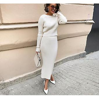 Knitted Sweater And Skirt Two Piece Set Women Autumn Slim Fit Crop Tops Women