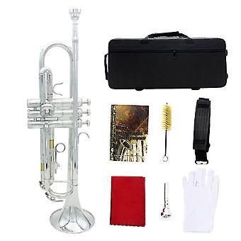 B-Flat Pocket Trumpet with Nickel Plated and Tuner, Case, Stand, Pocketbook