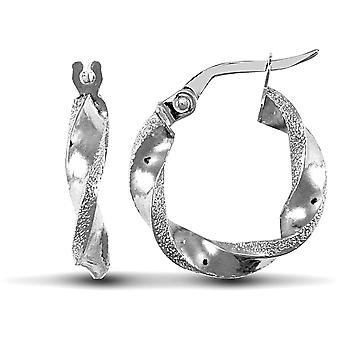 Jewelco London Ladies 9ct White Gold Frosted Edge Twisted 3mm Boucles d'oreilles Hoop 17mm