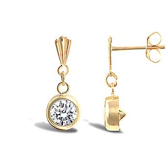 Jewelco London Ladies 9ct Yellow Gold White Round Brilliant Cubic Zirconia Solitaire Drop Earrings