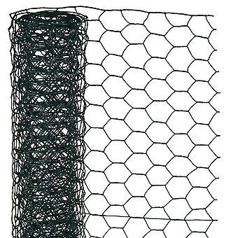 Natur sexkantigt nät 1x5 m 13 mm Plastbelagd stålgrön