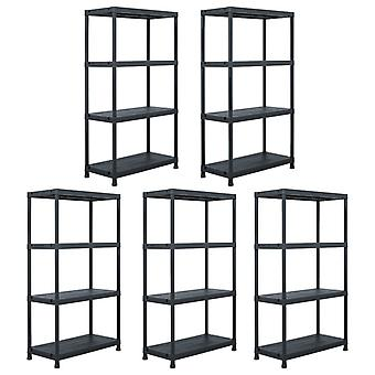Storage shelves 5 pcs. black 60 x 30 x 138 cm plastic