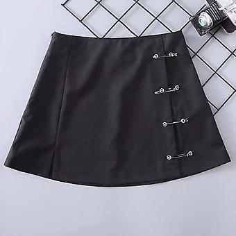 Streetwear Mini Saia Mulheres Lado Split Broche Coxa Lado Zipper Short