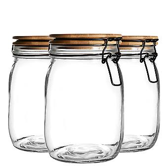 Argon Tableware 3 Piece Airtight Storage Jar with Wooden Lid Set - Style Glass Canister - Black Seal - 1 Litre