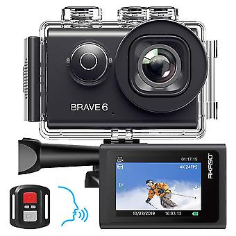 Akaso brave 6 action camera, voice control 4k 20mp wifi eis 30m underwater waterproof camera remote