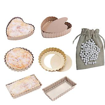 6 Pcs Multi Shape Mini Pie Tart Quiche Baking Pan And 500g Pie Weights