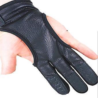 Cuir professionnel de tir d'arc, gants à 3 doigts, garde de main protecteur