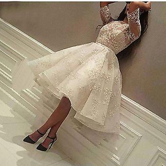 Lacet Applique Perles Demi Sleeve Knee Length Gown (blanc 2)