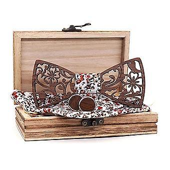 Homens Conjunto de Gravata borboleta de madeira, lenço de madeira gravata borboleta cufflinks gravata laços de seda laços de seda