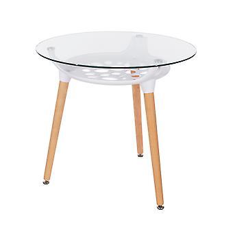 Tavolo piano in vetro trasparente rotondo penny con sottotelamento in plastica bianca e gambe in legno