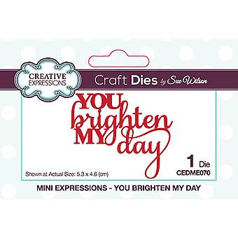Creative Expressions Mini Expressions Collectie Cutting Dies - You Brighten My Day