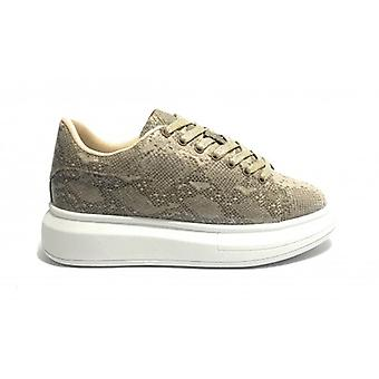 Women's Sneakers With Wedge Gold&gold Ecopelle Python Camel D20gg01