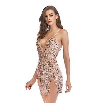 Women's Glitter Sexy Deep V Neck Sequin Halter Nightclub Party Robe