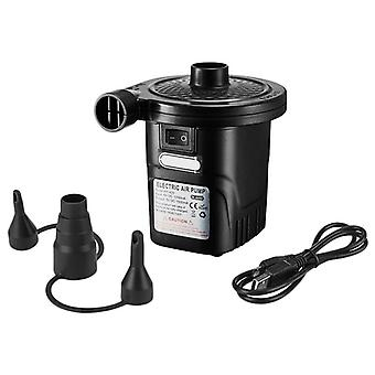 Portable Rechargeable Usb Electric Air Pump Quick-fill Inflator With 3 Nozzles