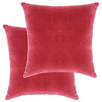 vidaXL Tyyny Puuvilla Sametti 2 kpl. 45×45 cm Vaaleanpunainen