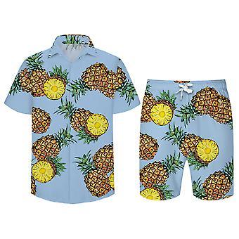 Allthemen Men's Pineapple Print Short-sleeved Shirt Beach Pants Suit 2-piece Set