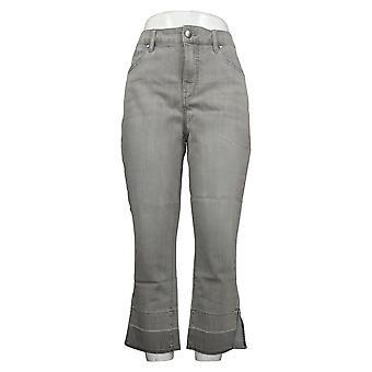 Isaac Mizrahi En vivo! Jeans femeninos verdadero denim crop release hem gris A379353