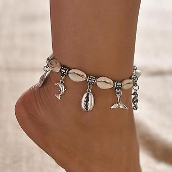 Female Shell Heart Summer Anklets, Tortoise Ankle Bracelets, Barefoot On Leg