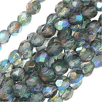 """חרוזי זכוכית צ'כית מלוטשת 4 מ""""מ עגול שני גוונים קריסטל / כחול AB ברק (50)"""