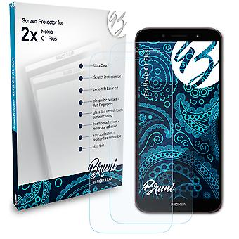 Bruni 2x Screen Protector compatible with Nokia C1 Plus Protective Film