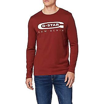 G-STAR RAW Grafik 4 Slim Långärmad T-Shirt, Röd (Dk Baron 336-4749), XS Herr