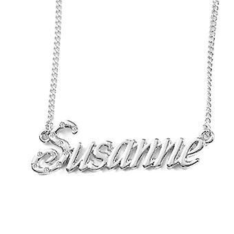 """L Susanne - 18-karaats wit vergulde ketting, met aangepaste naam, verstelbare ketting van 16 """"- 19"""", in ref verpakking. 496330313959"""