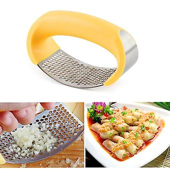 Stainless Steel Garlic Press Manual Garlic Grinder Grater Ginger Press Kitchen Accessories(yellow)
