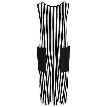 Latte Sleeveless Monochrome Striped Dress