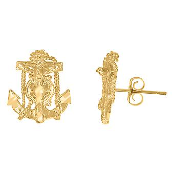 10k Yellow Gold Mens Nautical Ship Mariner Anchor Crucifix Religious Stud Earrings Jewelry Gifts for Men