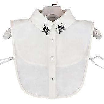Gefälschte Kragen Spitze Hals abnehmbare Bluse schwarz Gem Diamant eingelegte halbe Hemden