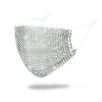 Sparkly Rhinestone Mesh Gezichtsmasker, Maskerade Masker (Zilver)
