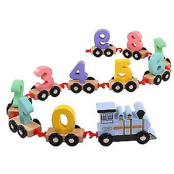 Children's wooden drag train(Blue)