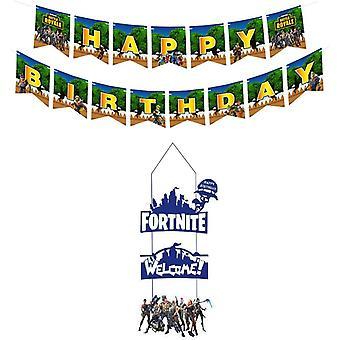 Video Game Partyzubehör, Happy Birthday Gaming Banner Girlande für Gaming Thema Jungen