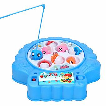 Mini Electric Magnetic Fishing Pond Toys Set Children Musical Rotating Magnet Gifts Fishing Toys