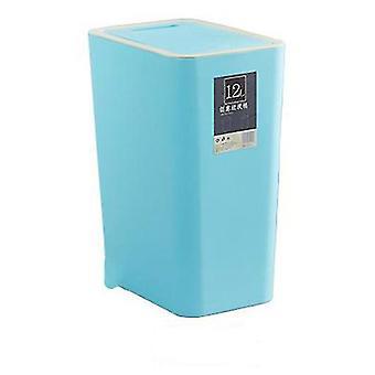 12 liter sortering skraldespand, rektangulær plast husholdningsaffaldsdåse med låg (Blå)