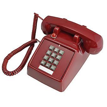 25T רטרו טלפון מתכת Pedestal טלפון עתיק קלאסי בסגנון ישן טלפון קווי אדום