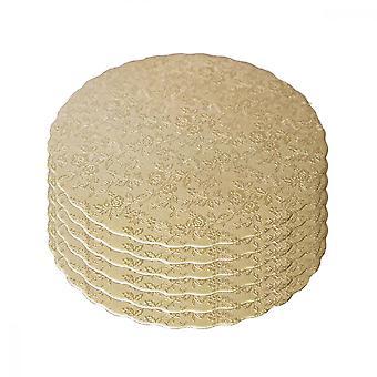 Planches à gâteaux, 6pcs Bases de gâteau rondes en carton respectueuses de l'environnement (8 pouces d'or et de siliver double faces)