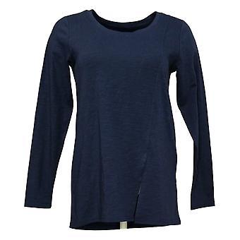 Modern Soul Women's Top XS Long Sleeve Front Slit Scoop Neck Blue 681481