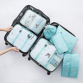 Packing organizers 7 piece set of luggage packing travel organizer cubes and pouches bright blue