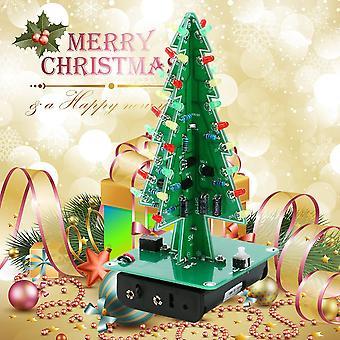 Diy 3d עץ חג המולד הוביל קיט אדום ירוק צהוב הוביל חלקי מעגל פלאש