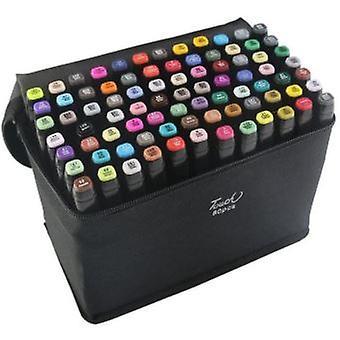 Kit von 80 Doppel Öl-Alkohol Marker Marker 1mm-6mm 80 Grafikfarben + Bleistift Tasche für Home Decor schwarz