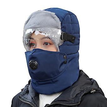 الحرارية الشتاء الصياد قبعة ركوب الدراجات الفراء كاب Windproof قبعة في الهواء الطلق مع نظارات غطاء الوجه
