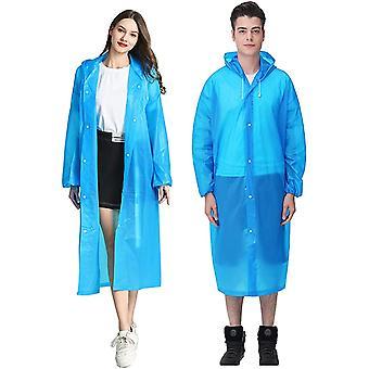 Portable Eva Rain Coats Reusable Rain Poncho With Hood And Elastic Cuff Sleeves