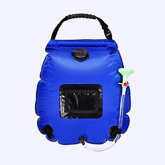Bolsa de ducha de lavado de botella de agua caliente solar portátil al aire libre de 20l, adecuada para acampar, bañarse y bañarse (azul)