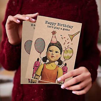 5pcs Creative Squid Game Birthday Card Squid Game Card Invitation