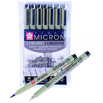 Sakura Pigma Micron Set Of 6 Fineliners & 1 Brush Pen