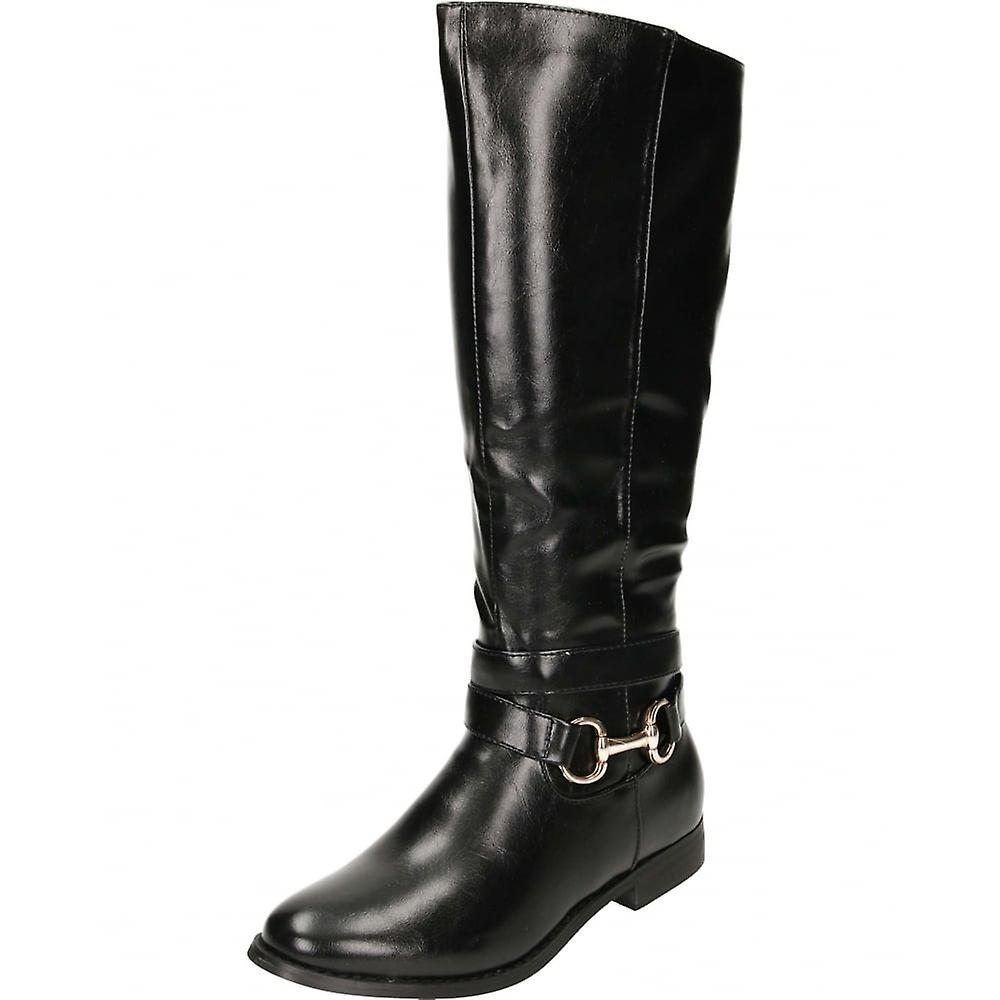 Jwf Black Flat Leather Style Knee Buckle Strap Boots