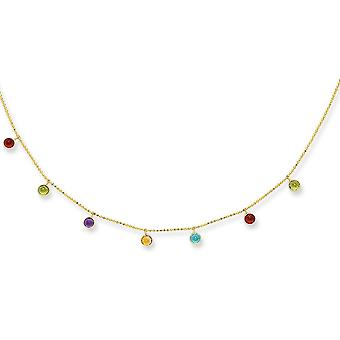 14k Yellow Gold Cable Chain Necklace Spring Ring Clasp Multi Color Faceted Dangle Stone Jewelry Gifts for Women - Length