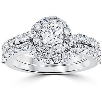 1 1/2ct Diamond Engagement Halo Curve Ring Set 10K White Gold